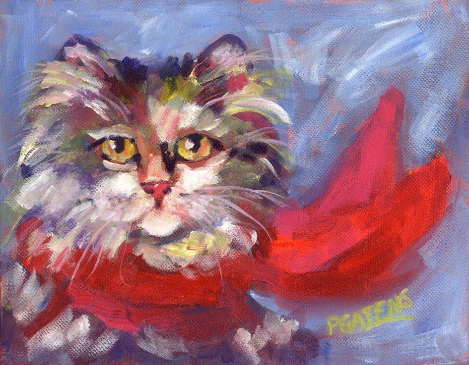 """Meow's New Muffler"" original fine art by Pamela Gatens"