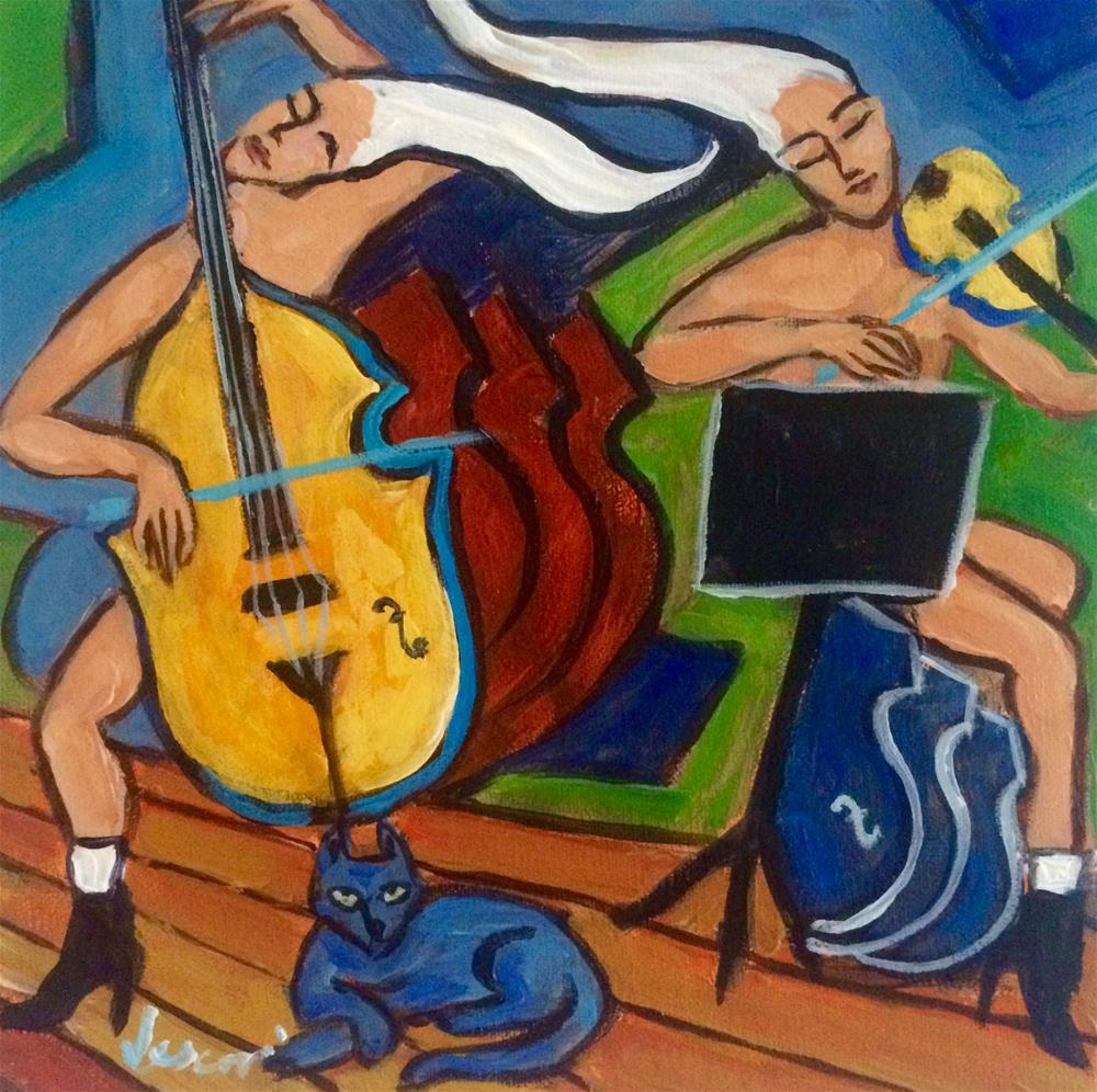 """Cello, Violin, Cat"" original fine art by Valerie Vescovi"