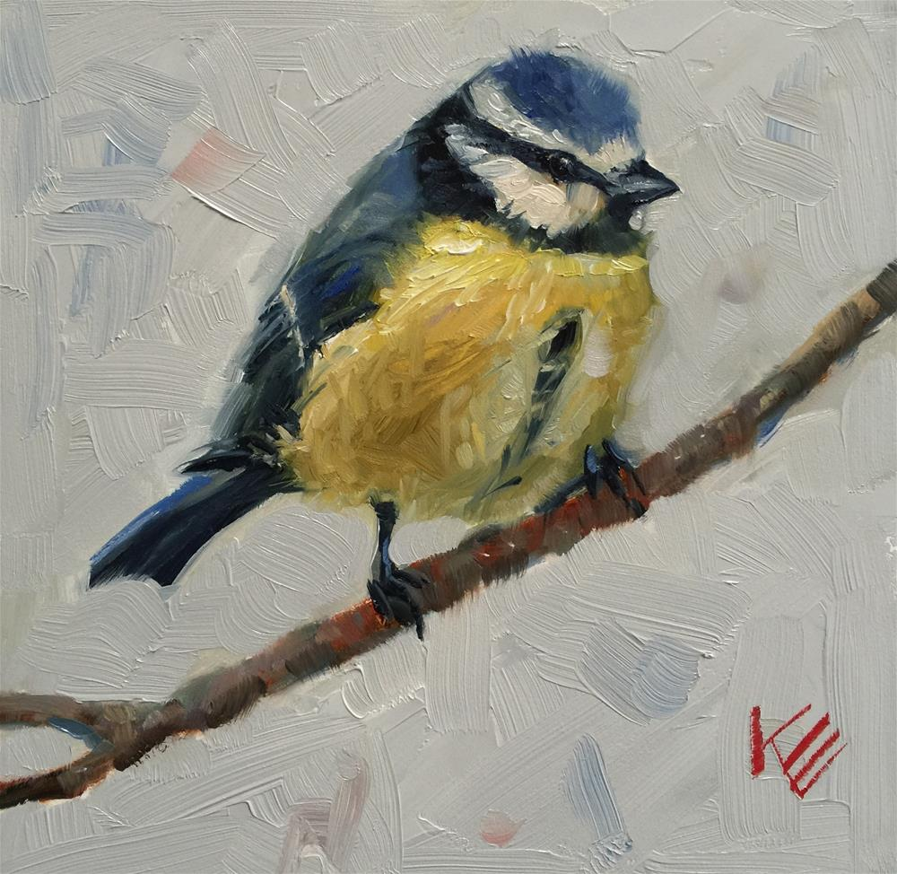 """Blue Tit on branch"" original fine art by Krista Eaton"
