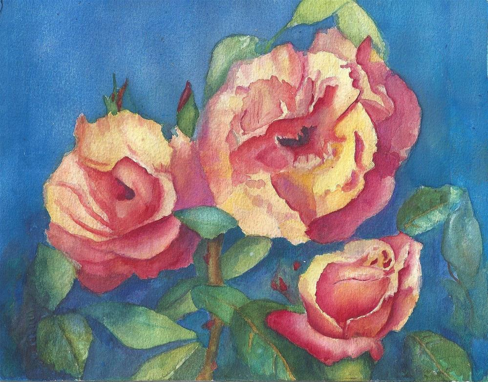 """Apricot Roses"" original fine art by Elizabeth Current"