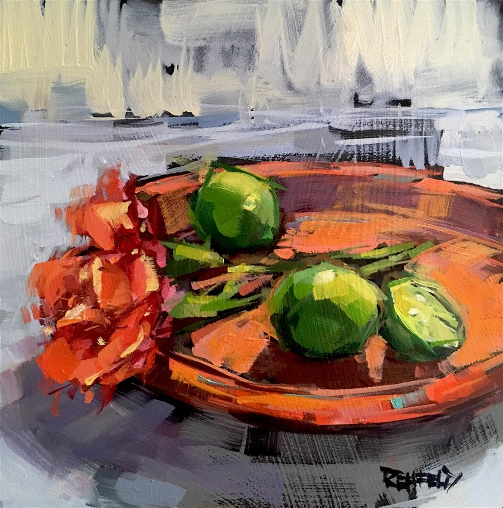 """Limes And Roses"" original fine art by Cathleen Rehfeld"