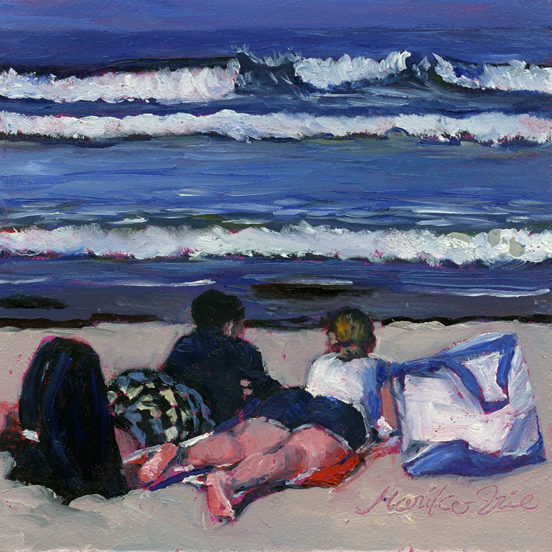 """Love at a Beach"" original fine art by Mariko Irie"