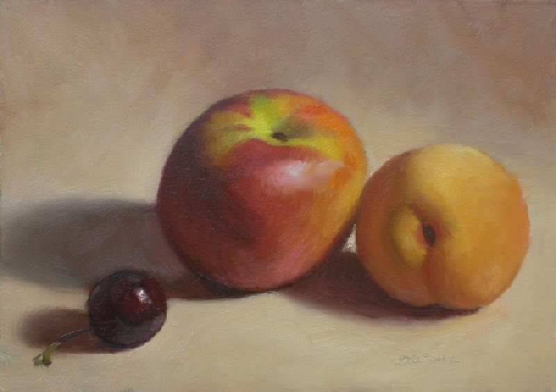 """Nectarine, Cherry and Apricot"" original fine art by Debra Becks Cooper"