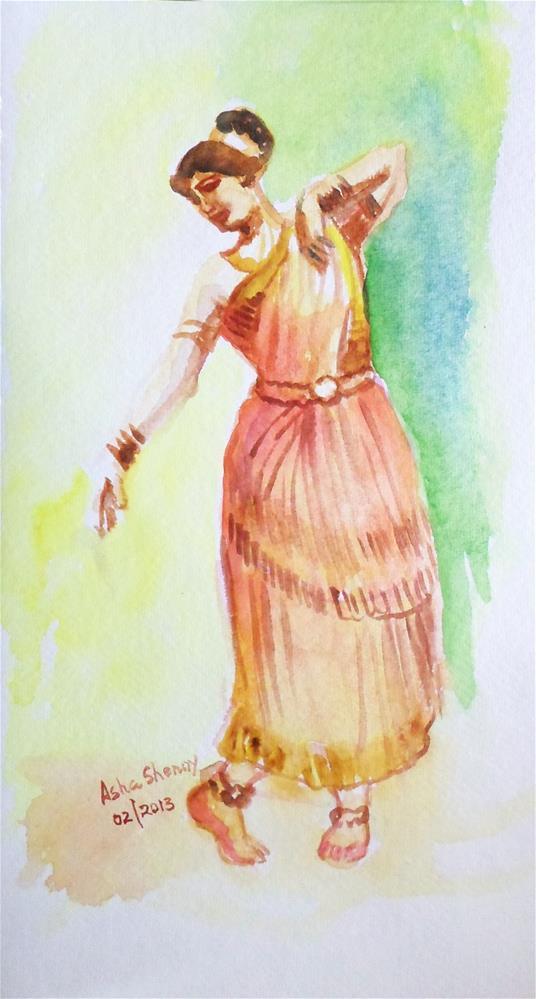 """Indian Dancer"" original fine art by Asha Shenoy S"