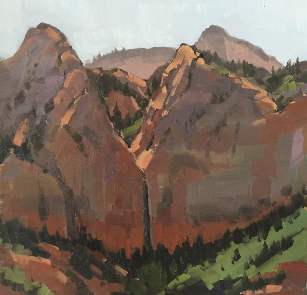 """Kolob Walls in the Morning"" original fine art by Mary Jabens"