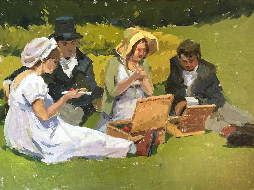 """Regency picnic"" original fine art by Haidee-Jo Summers ROI"