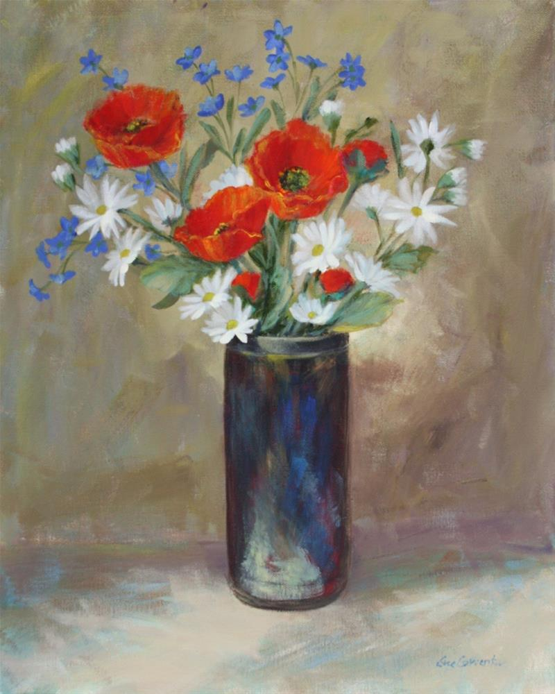 """Poppies in Raku"" original fine art by Sue Cervenka"