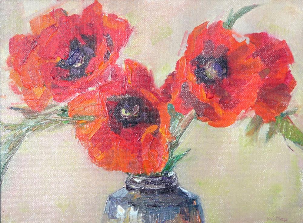 """Oriental Poppies,still life,oil on canvas,9x12,priceNFS"" original fine art by Joy Olney"