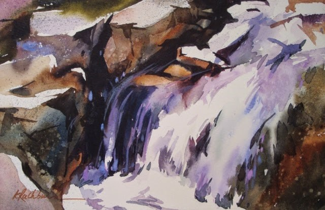 """Water on the Rocks"" original fine art by Kathy Los-Rathburn"