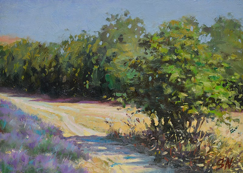 """Countryside road next to Lavender field"" original fine art by Nick Sarazan"