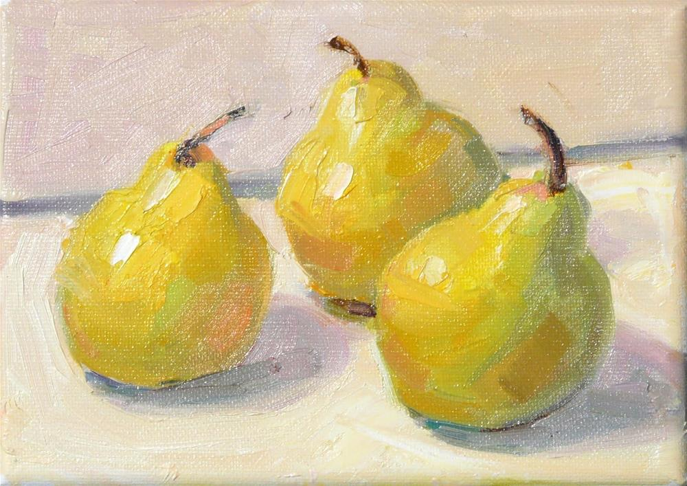 """New Pear Painting,still life,oil on canvas,5x7,price$175"" original fine art by Joy Olney"