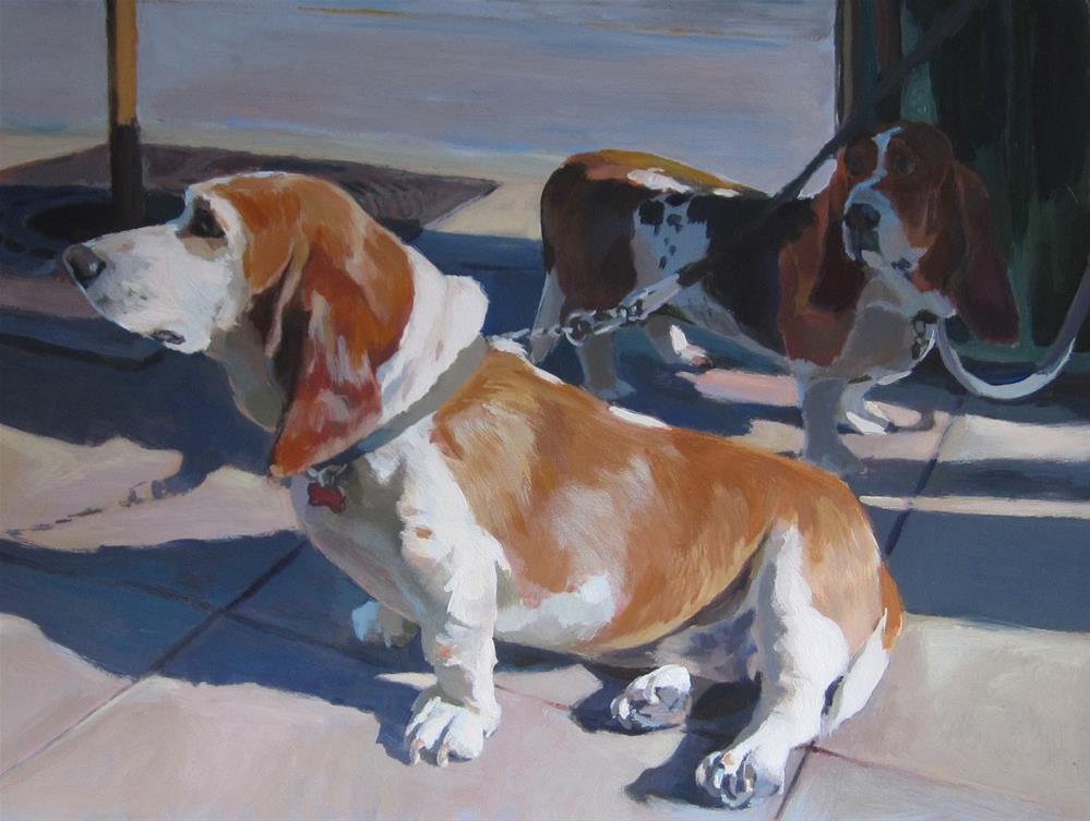 """""""The Bassetts are Waiting"""" original fine art by Kaethe Bealer"""