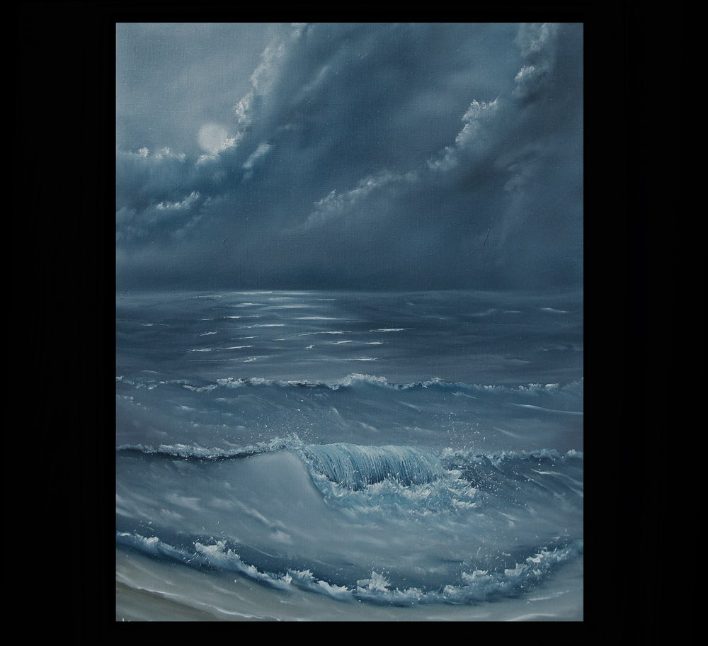 """Moonlite Surf"" original fine art by Ken Fraser"