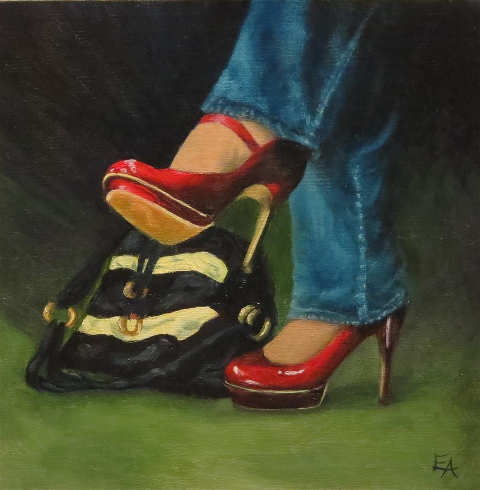 """Oh, Those Red Shoes!"" original fine art by Elizabeth Elgin"