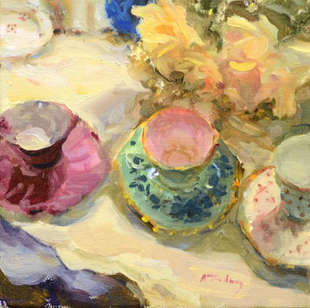 """Three Tea Cups"" original fine art by alicia tredway"