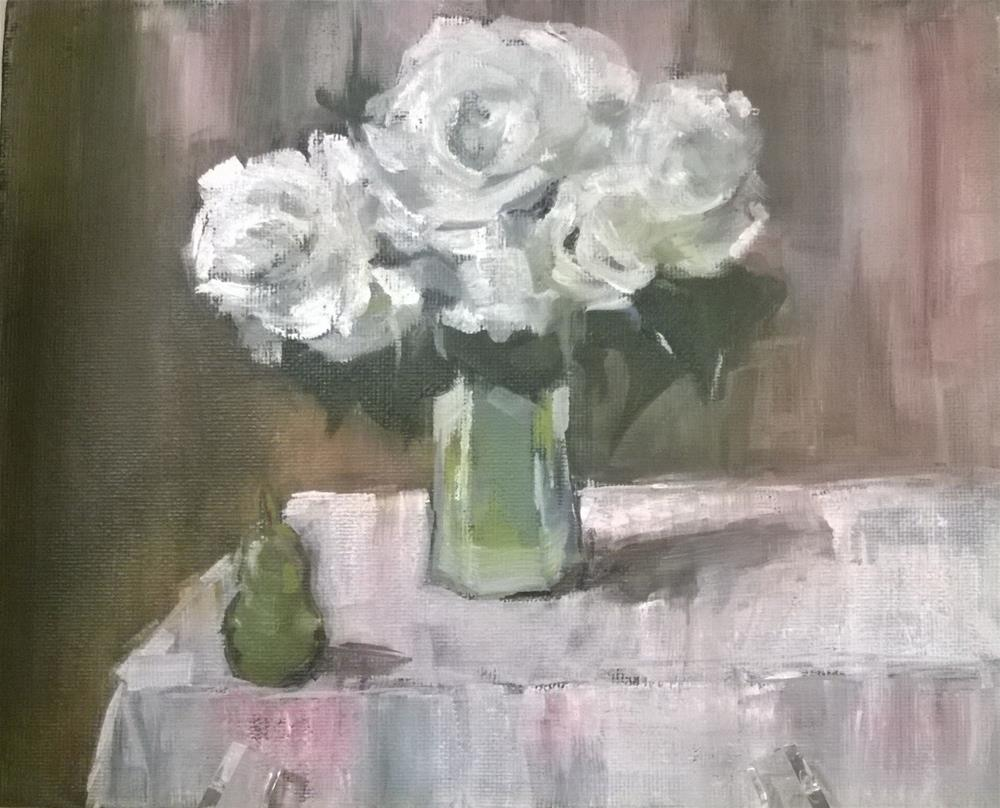"""#4 oil  White Roses"" original fine art by Crisynda Buss"