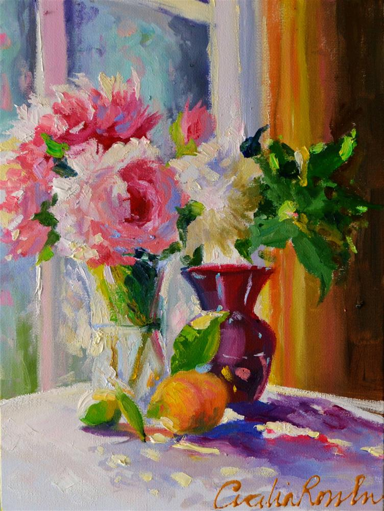 """PEONIES AND ROSES"" original fine art by Cecilia Rosslee"