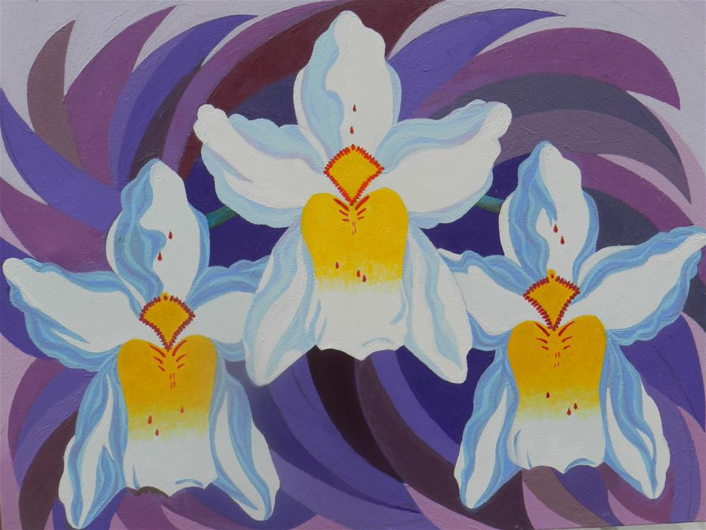 """3 White Orchids"" original fine art by Velma Davies"