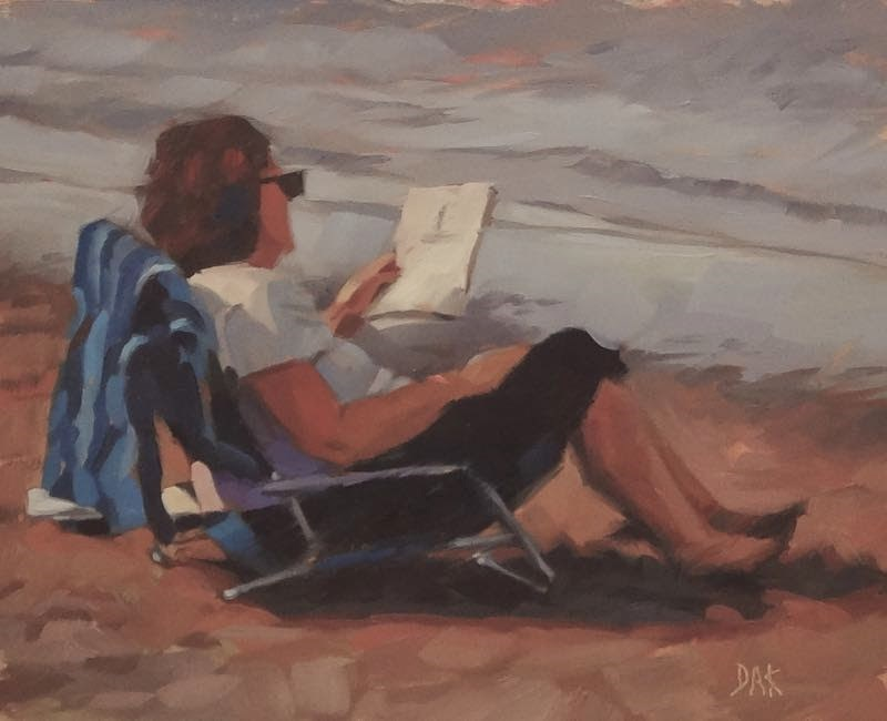 """Lakeside Read"" original fine art by Deborah Ann Kirkeeide"