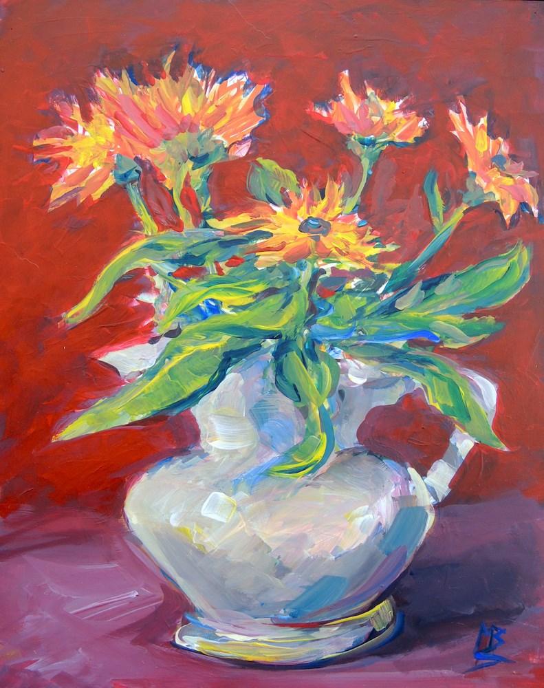 """""""A Blaze of Flowers"""" original fine art by Mary Schiros"""