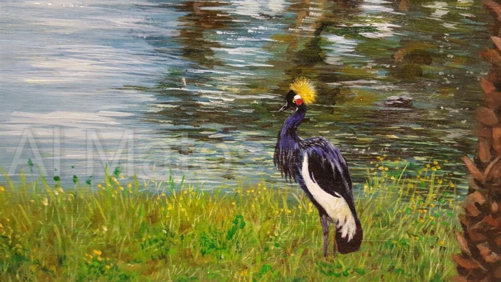 """""""West African Crown Crane"""" original fine art by Al Matos"""
