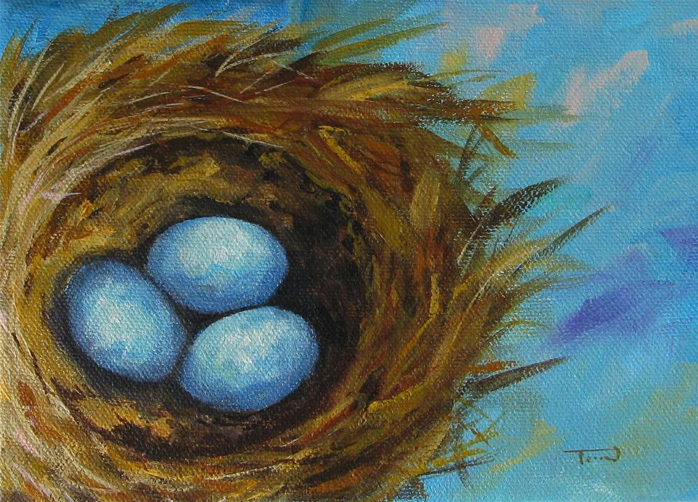 """Robin's Three Eggs VIII"" original fine art by Torrie Smiley"