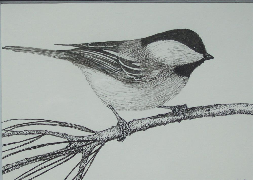 """My Little Chickadee"" original fine art by Elaine Shortall"