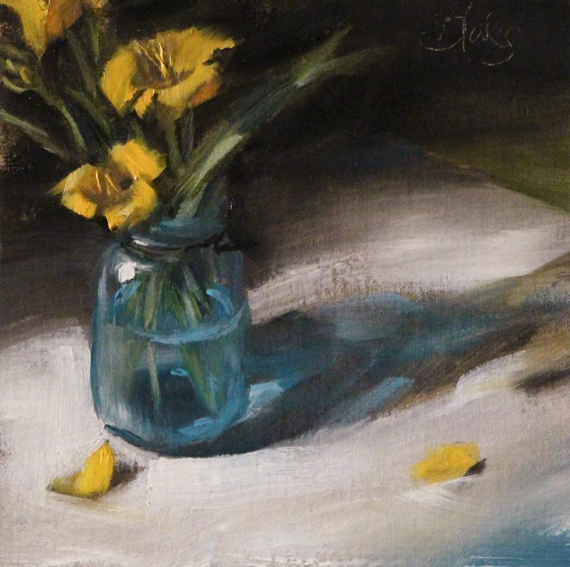 """Daylilies in a Ball Jar"" original fine art by Pamela Blaies"