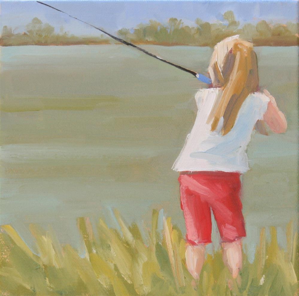 """""""small bait, big fish"""" original fine art by Carol Carmichael"""