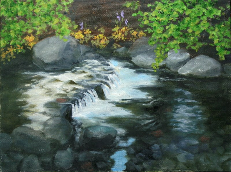 """Little falls at Wychus Creek"" original fine art by Jean Nelson"