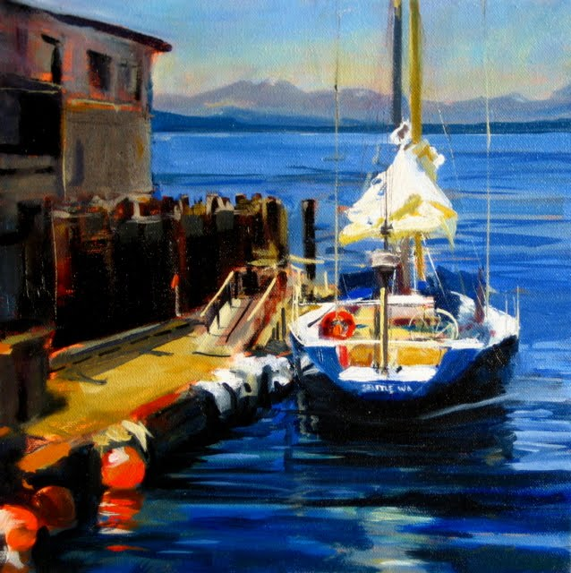 """:Seattle Sailboat   marine oil painting"" original fine art by Robin Weiss"