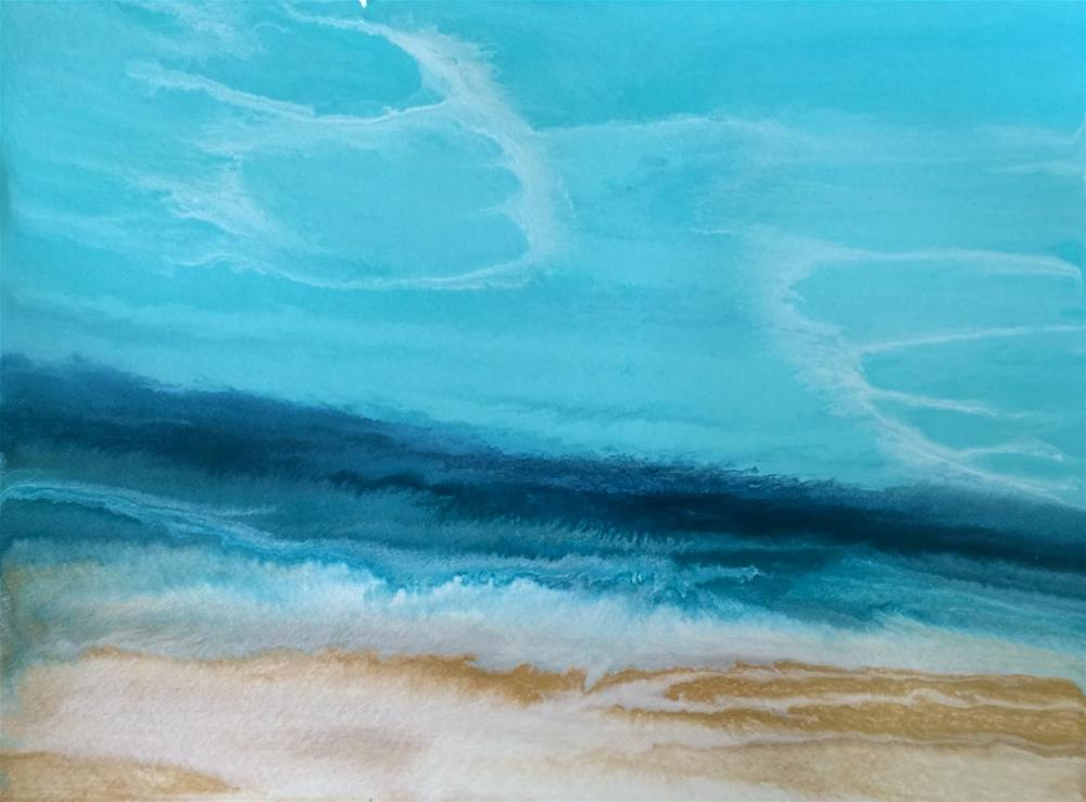 """Abstract Seascape,Beach, Ocean Coastal Living Decor Royal Wave - Study X by Colorado Contemporary"" original fine art by Kimberly Conrad"