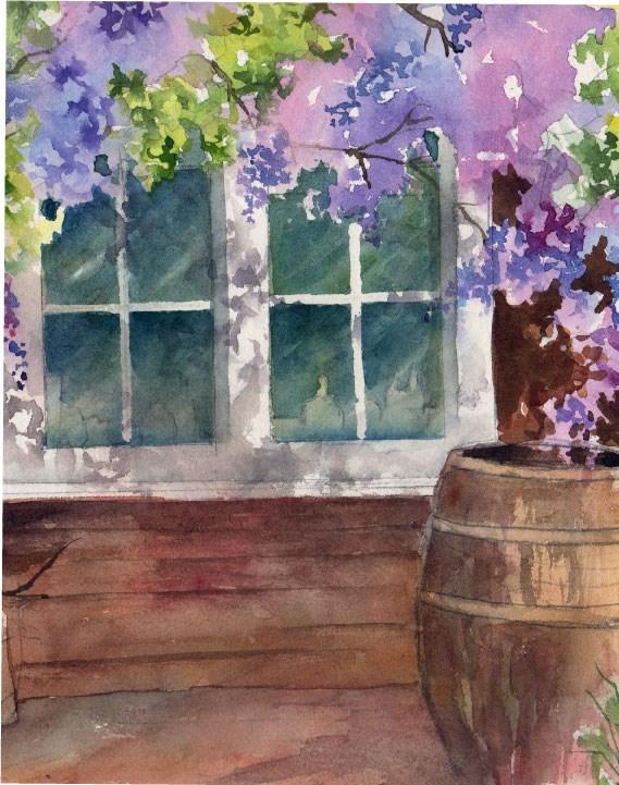 """Wickford Windows"" original fine art by Sue Dion"