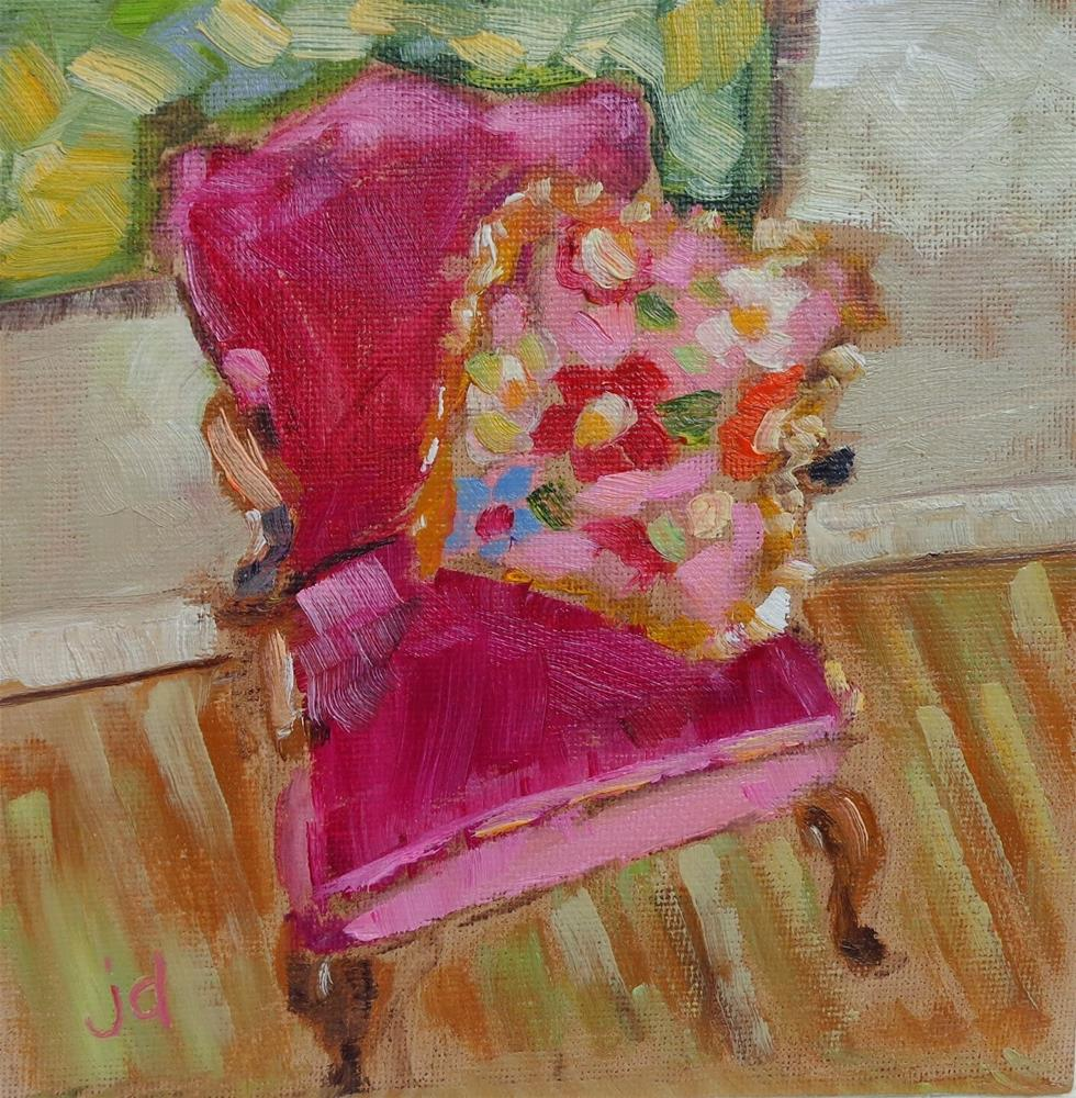 """The pink chair"" original fine art by Jean Delaney"