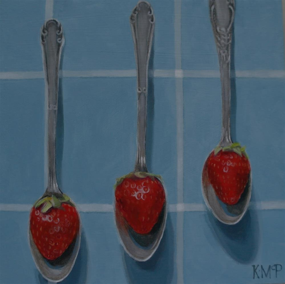 """Strawberry Spoons"" original fine art by Kathleen McParland"