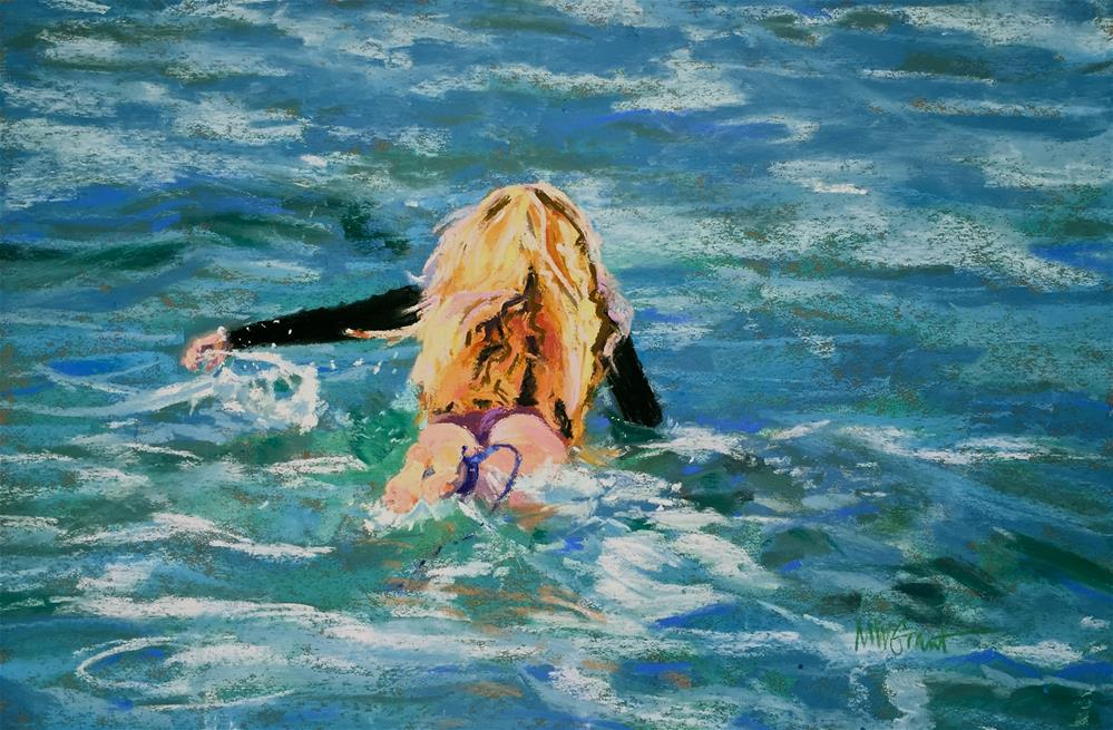 """First Paddle Out"" original fine art by Michelle Wells Grant"