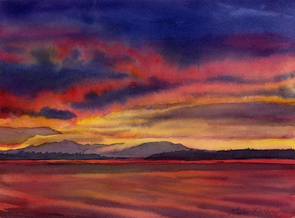 """Island Sunset"" original fine art by Leslie Redhead"