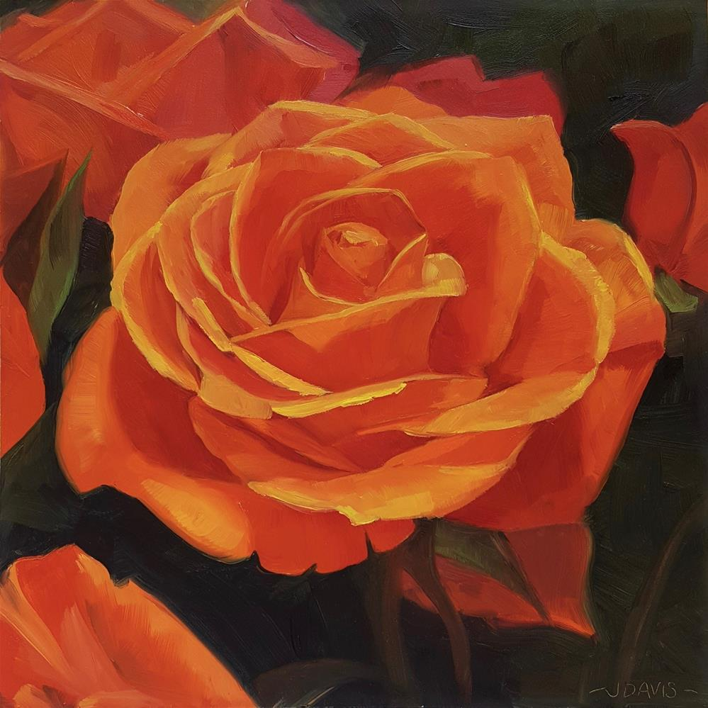 """Orange Rose"" original fine art by Jacqueline Davis"
