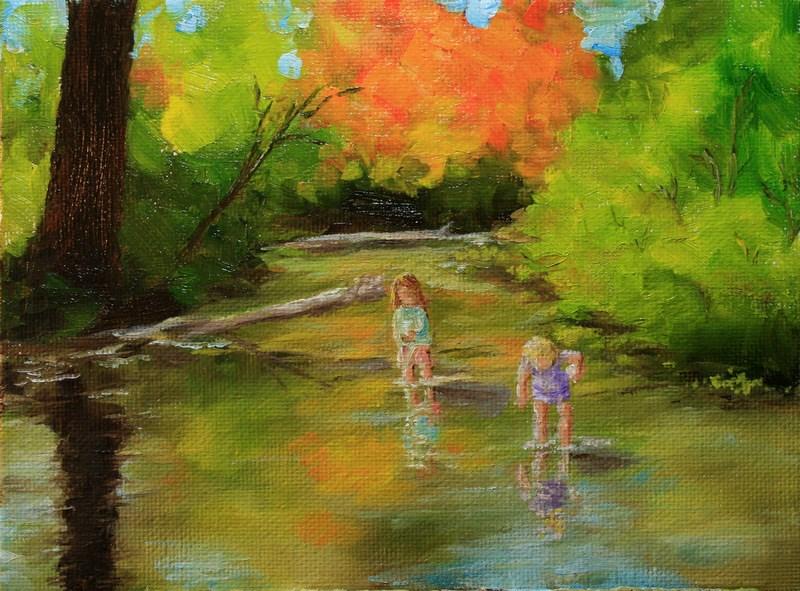 """Catching Tadpoles"" original fine art by Jean Nelson"