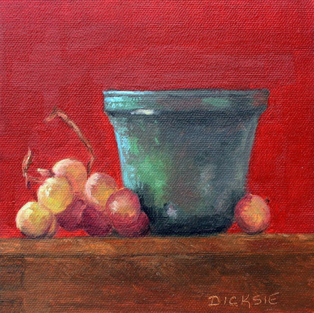 """Vase & Grapes"" original fine art by Dicksie McDaniel"