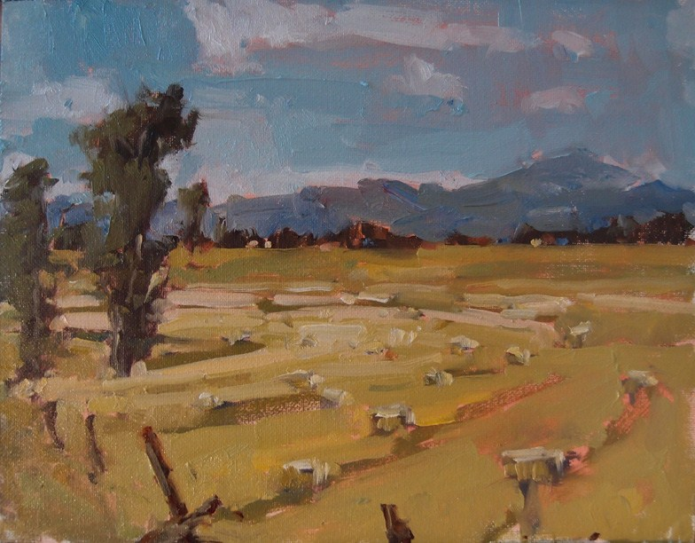 """Hay Bales in Line"" original fine art by Julie Davis"