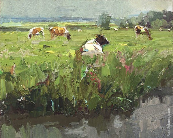 """Painting Cows in Meadow"" original fine art by Roos Schuring"