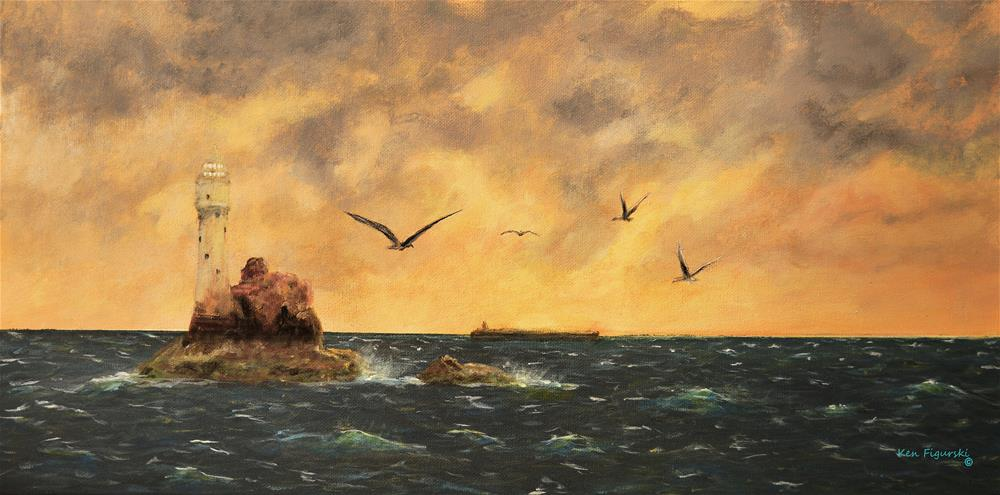 """Fastnet Light Ireland"" original fine art by Ken Figurski"