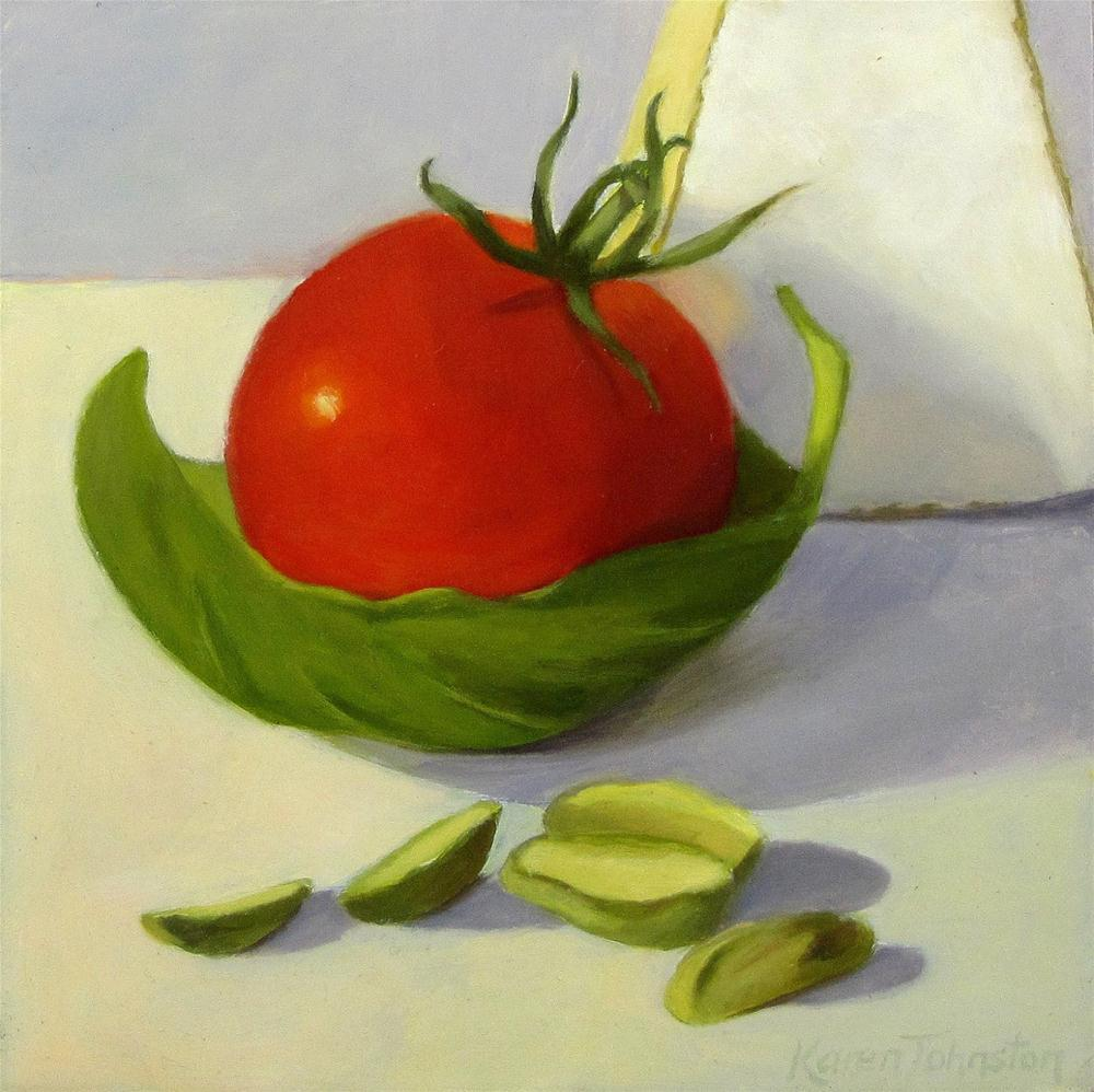 """Brie,Cherry Tomato and Basil Boat"" original fine art by Karen Johnston"