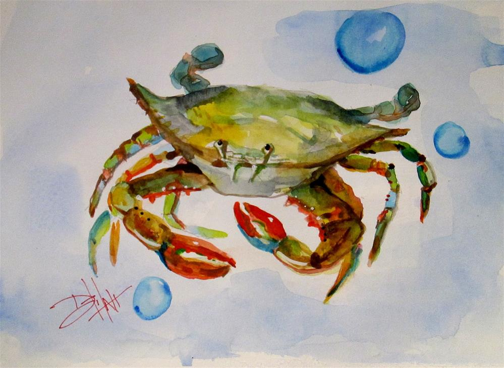 """Crab and Bubbles"" original fine art by Delilah Smith"