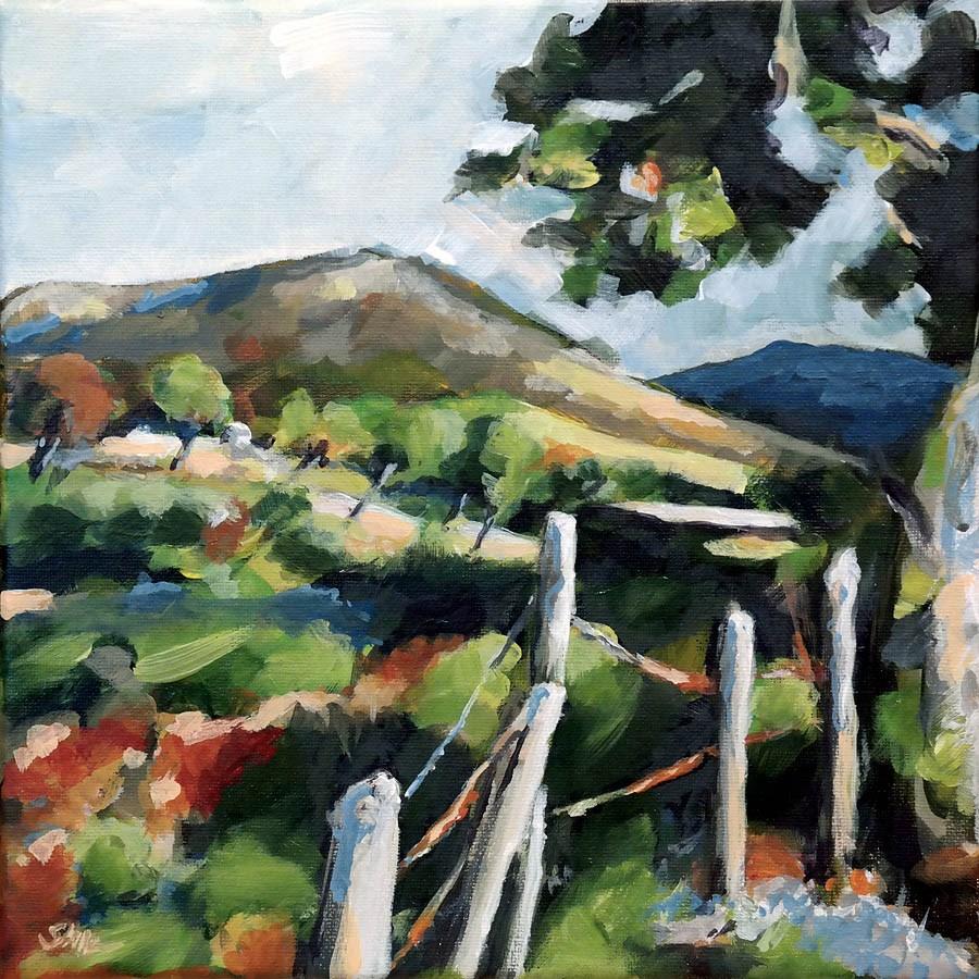 """1205 Fenced Landscape"" original fine art by Dietmar Stiller"