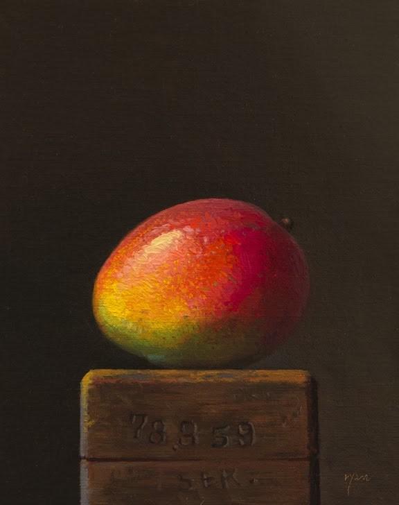 """Mango on a Wood Block"" original fine art by Abbey Ryan"