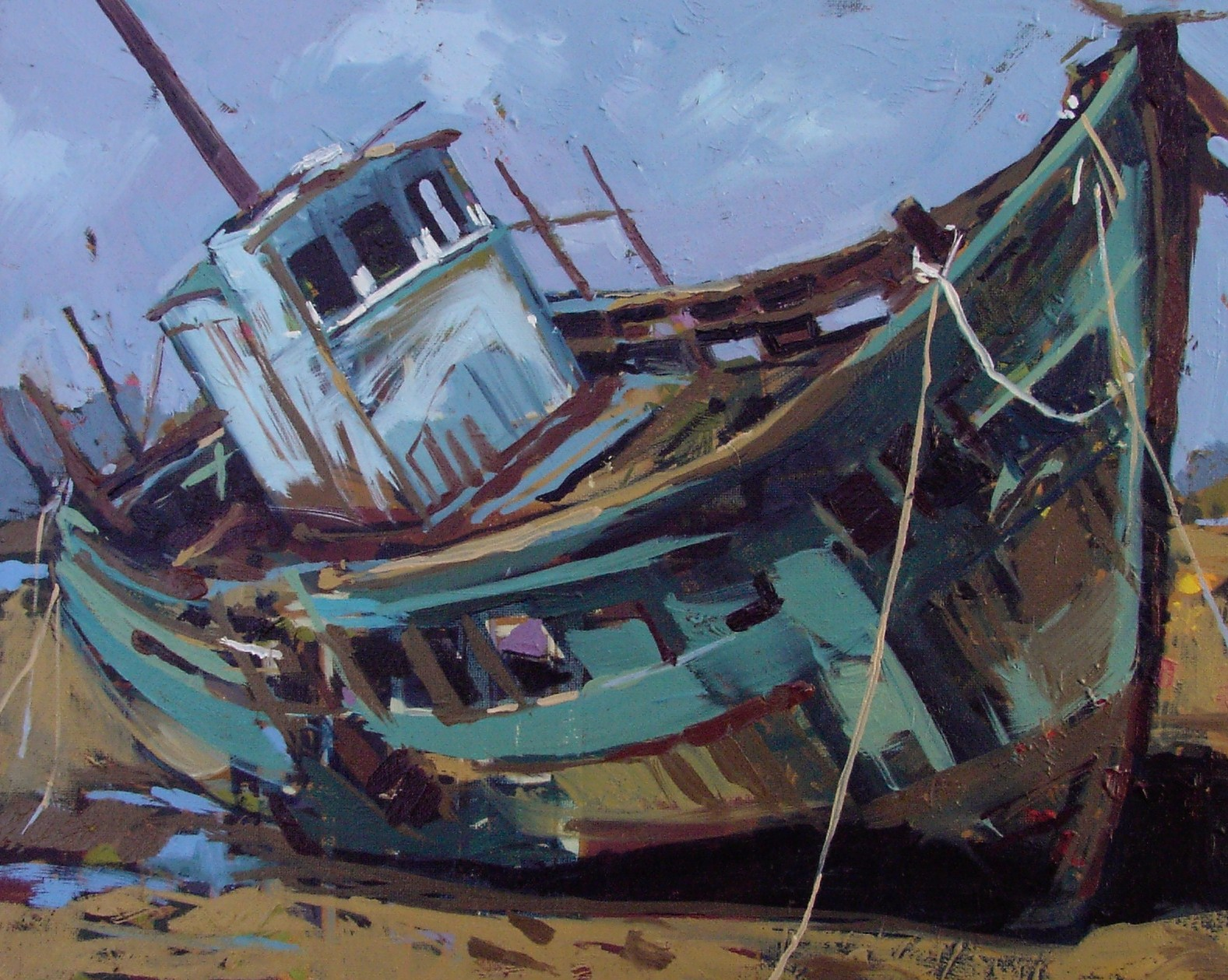 """Shipwreck"" original fine art by Haidee-Jo Summers ROI"