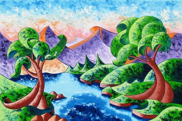 """Mark Webster - Abstract Landscape Oil Painting 24x36"" original fine art by Mark Webster"