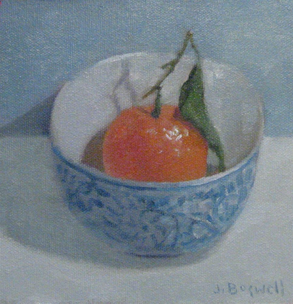 """Clementine in Blue and White Bowl"" original fine art by Jennifer Boswell"